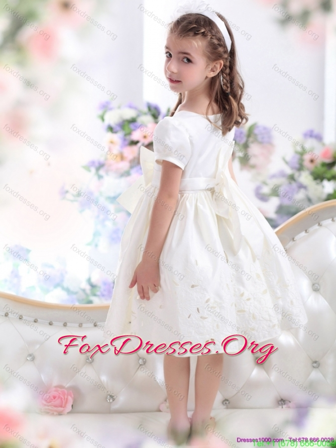 White Scoop 2015 Pretty Girls Party Dresses with Bowknot and Cap Sleeves
