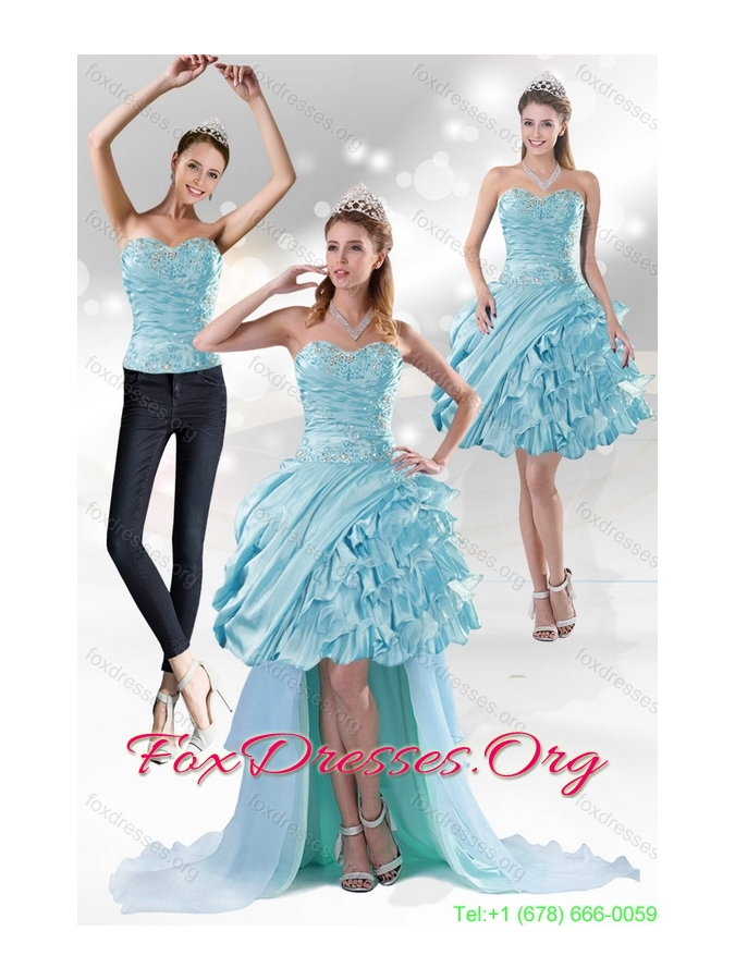 Detachable Sweetheart 2015 Prom Dress with Beading and Ruffled Layers