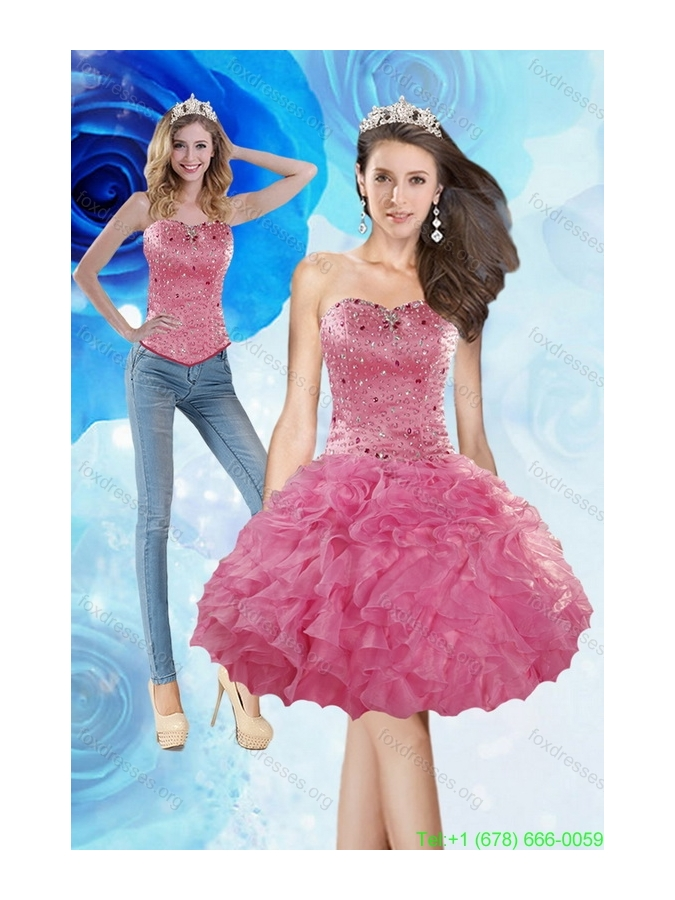 2015 Detachable Knee Length Prom Dress with Beading and Ruffles