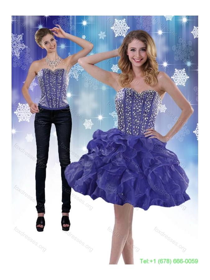 Detachable 2015 Sweetheart Royal Blue Prom Dress with Beading and Ruffles
