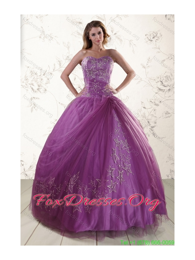 Cheap Purple Sweetheart Appliques 2015 Quinceanera Dresses with