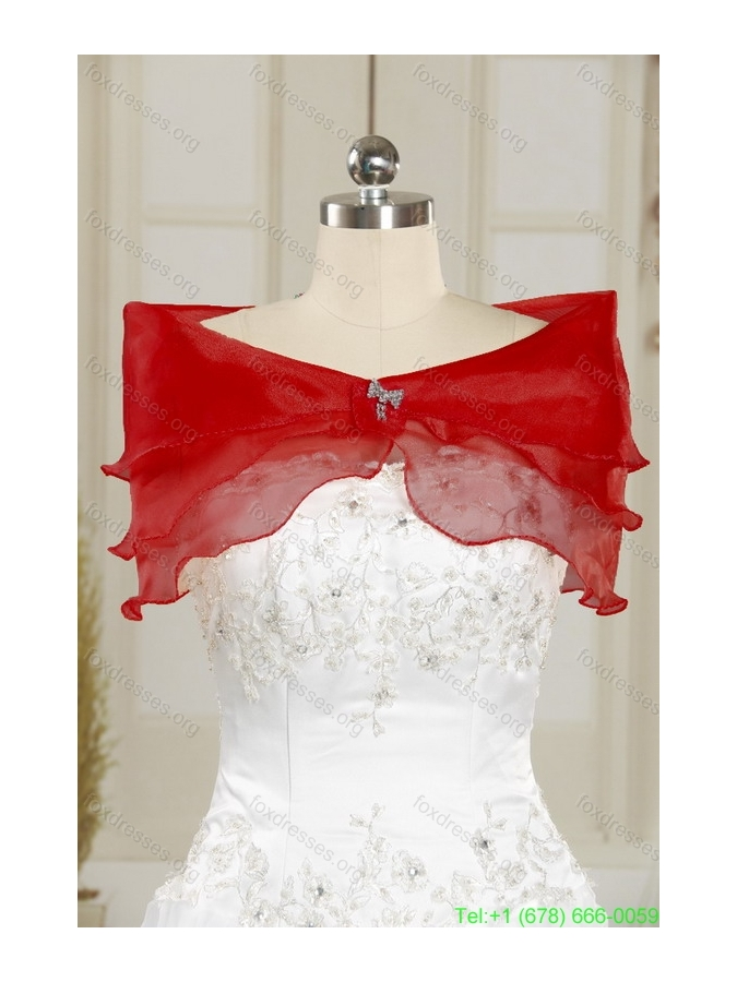 Beautiful Red Strapless 2015 Quinceanera Dresses with Appliques