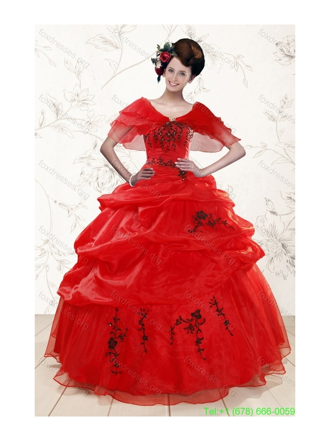 Beautiful Sweetheart Red Quinceanera Dresses for 2015