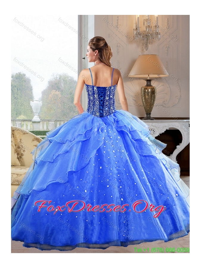 Discount Spaghetti Straps 2015 Quinceanera Dresses with Beading