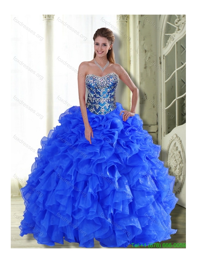 Discount Strapless 2015 Quinceanera Dresses with Beading and Ruffles