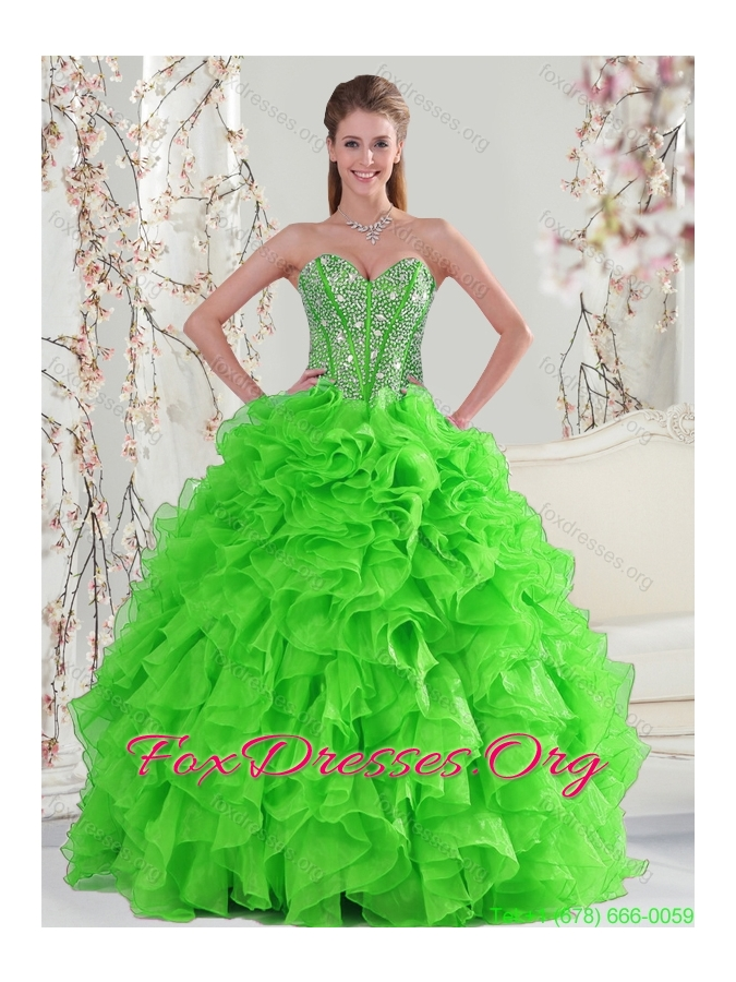 Detachable and New Style Beading and Ruffles Quince Dresses in Spring Green for 2015
