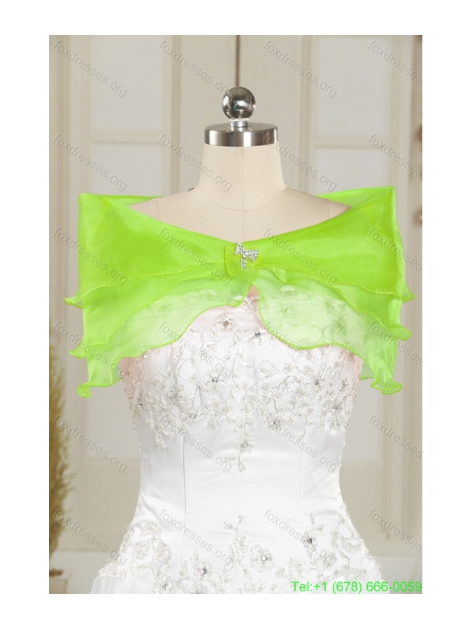 Discount Beading and Ruffles Sweetheart 2015 Quinceanera Dresses in Yellow Green