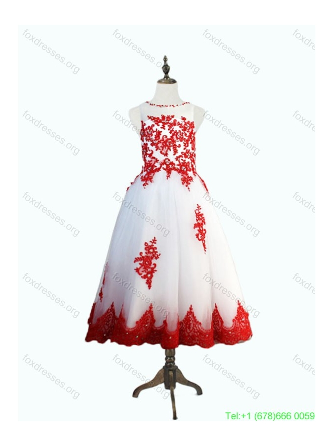 Lovely Beaded and Appliques Little Girl Pageant Dresses in White and Red