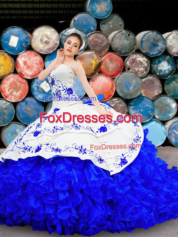 Unique Royal Blue Ball Gowns Strapless Sleeveless Organza Brush Train Lace Up Embroidery and Ruffles Sweet 16 Quinceanera Dress