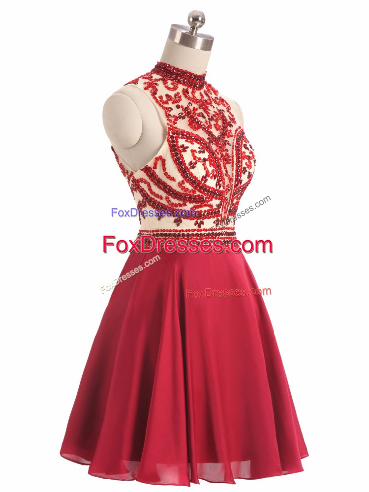 Halter Top Sleeveless Backless Red Chiffon