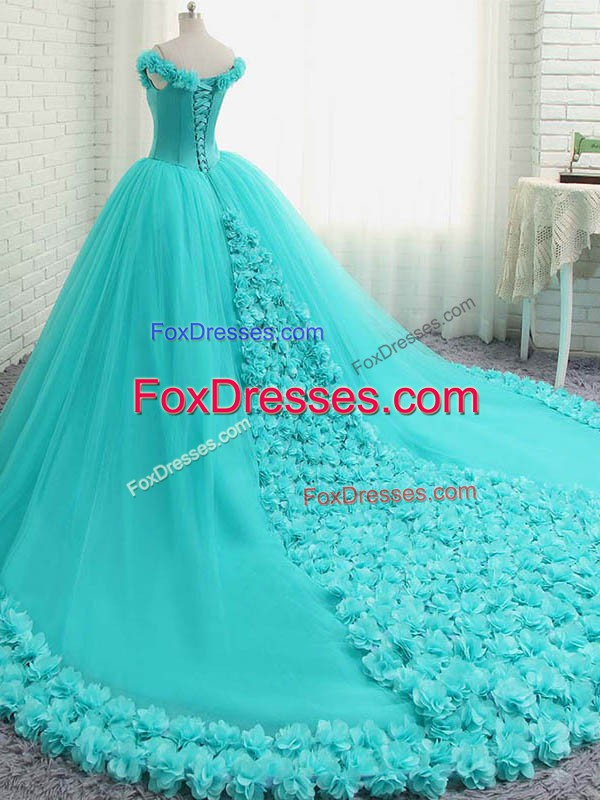 Off The Shoulder Sleeveless Court Train Lace Up Quinceanera Dress Aqua Blue Tulle