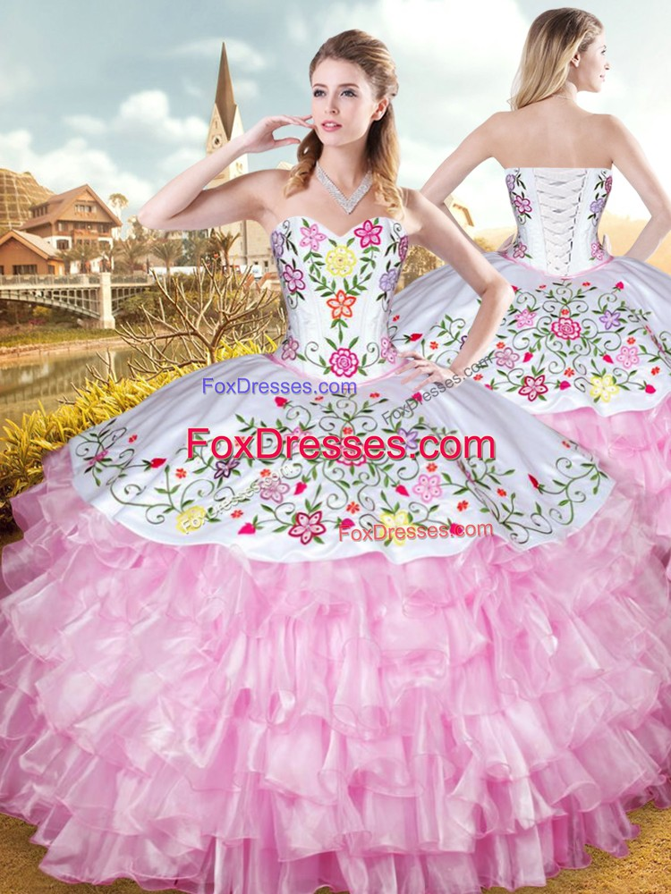 Popular Rose Pink Sweetheart Neckline Embroidery and Ruffled Layers Vestidos de Quinceanera Sleeveless Lace Up