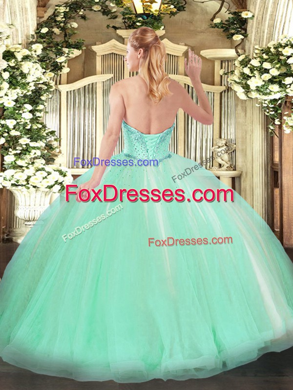 Floor Length Apple Green Quinceanera Gown Sweetheart Sleeveless Lace Up