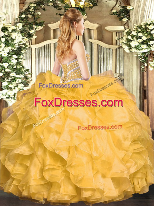 Gold Sleeveless Organza Lace Up Sweet 16 Quinceanera Dress for Military Ball and Sweet 16 and Quinceanera