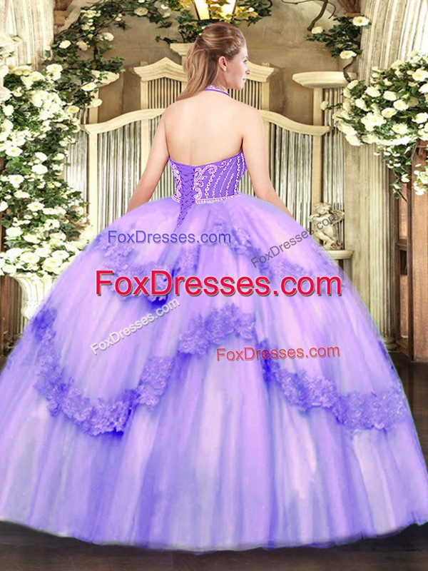 Sleeveless Floor Length Beading and Appliques Lace Up Sweet 16 Dresses with Baby Pink
