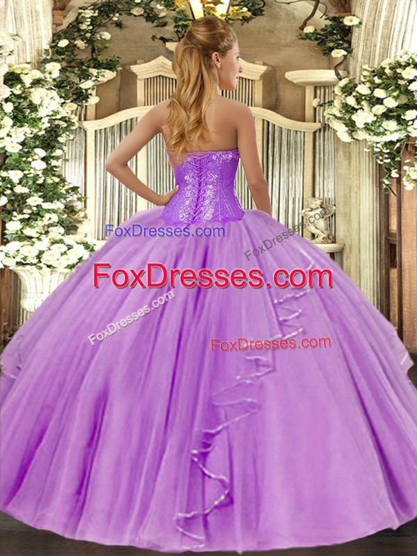 Custom Design Floor Length Lilac Quinceanera Dress Sweetheart Sleeveless Lace Up