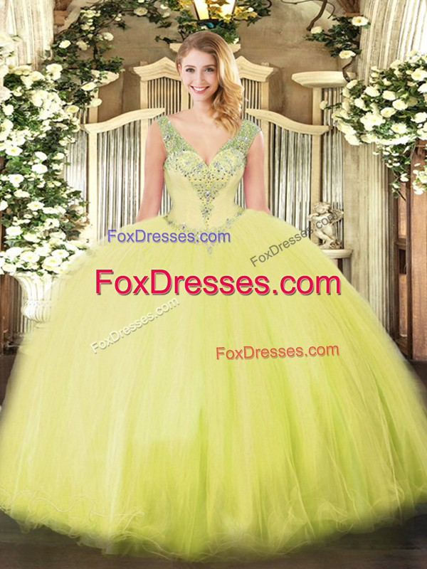 V-neck Sleeveless Lace Up Sweet 16 Quinceanera Dress Yellow Green Tulle