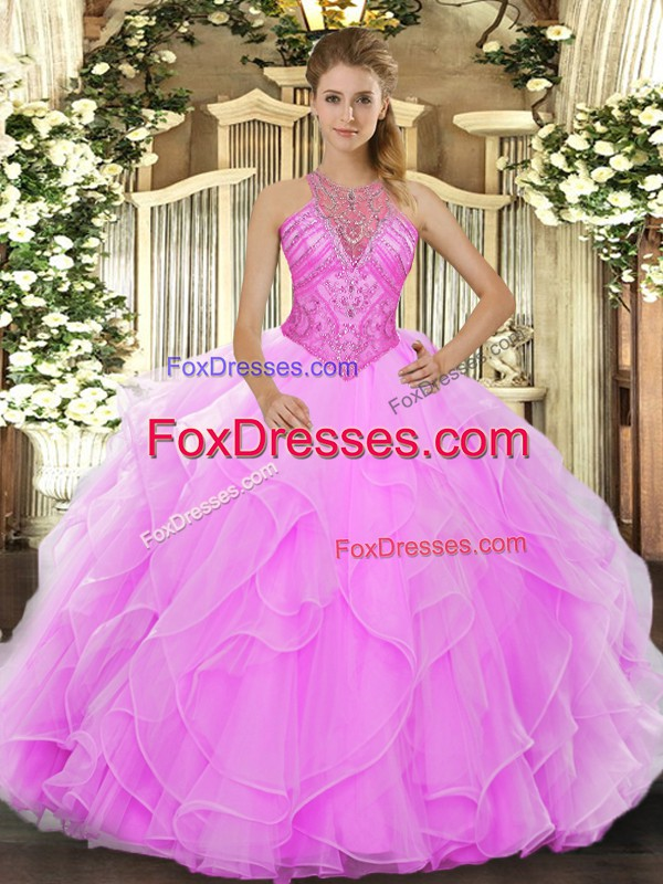 Sleeveless Beading and Ruffles Lace Up Quinceanera Gown