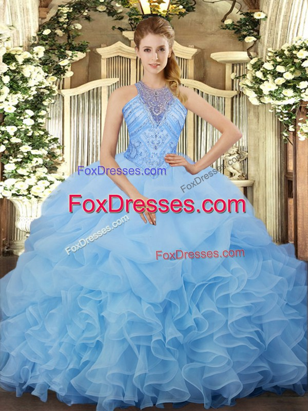 Sleeveless Beading and Ruffles and Pick Ups Lace Up 15th Birthday Dress