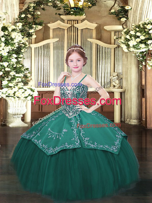 Dark Green Ball Gowns Satin and Organza Spaghetti Straps Sleeveless Beading and Embroidery Floor Length Lace Up Winning Pageant Gowns