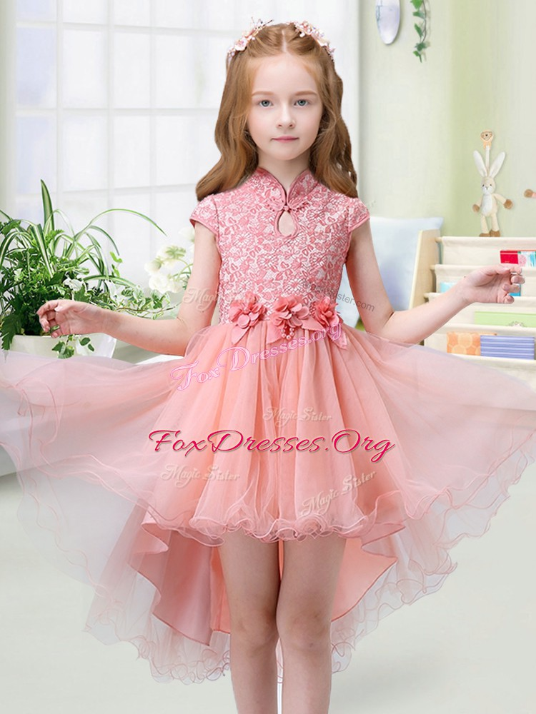 Peach Organza Zipper High-neck Cap Sleeves High Low Flower Girl Dress Lace and Hand Made Flower