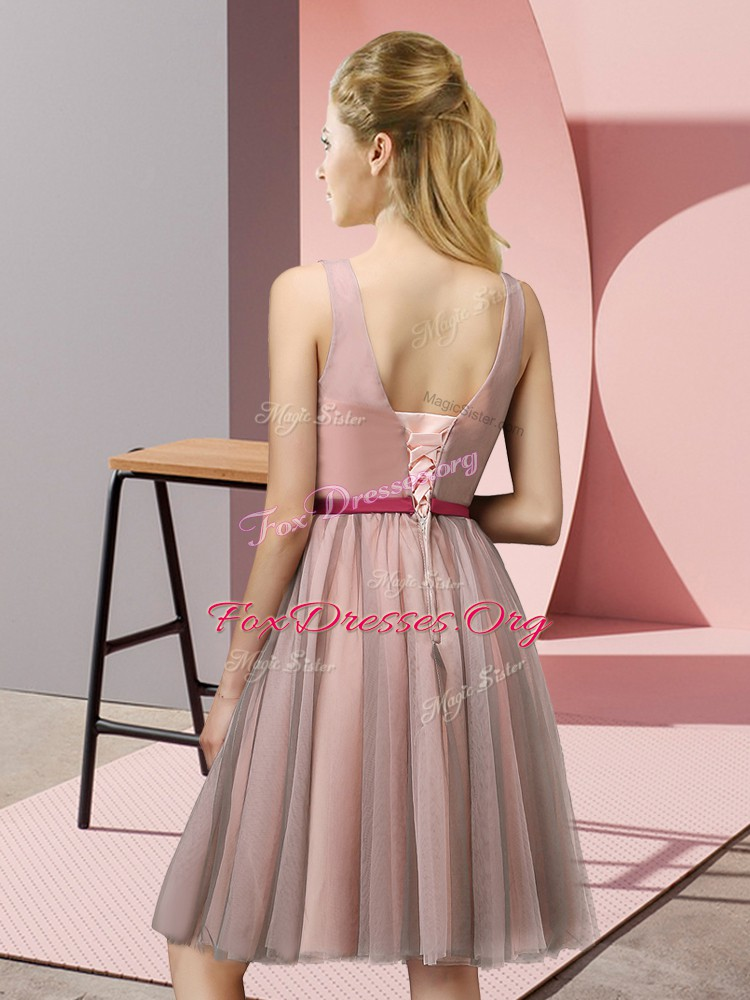 Chic Baby Pink Sleeveless Appliques Knee Length Quinceanera Court of Honor Dress
