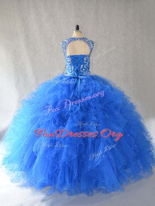 Blue Sleeveless Beading and Ruffles Floor Length Quinceanera Gown