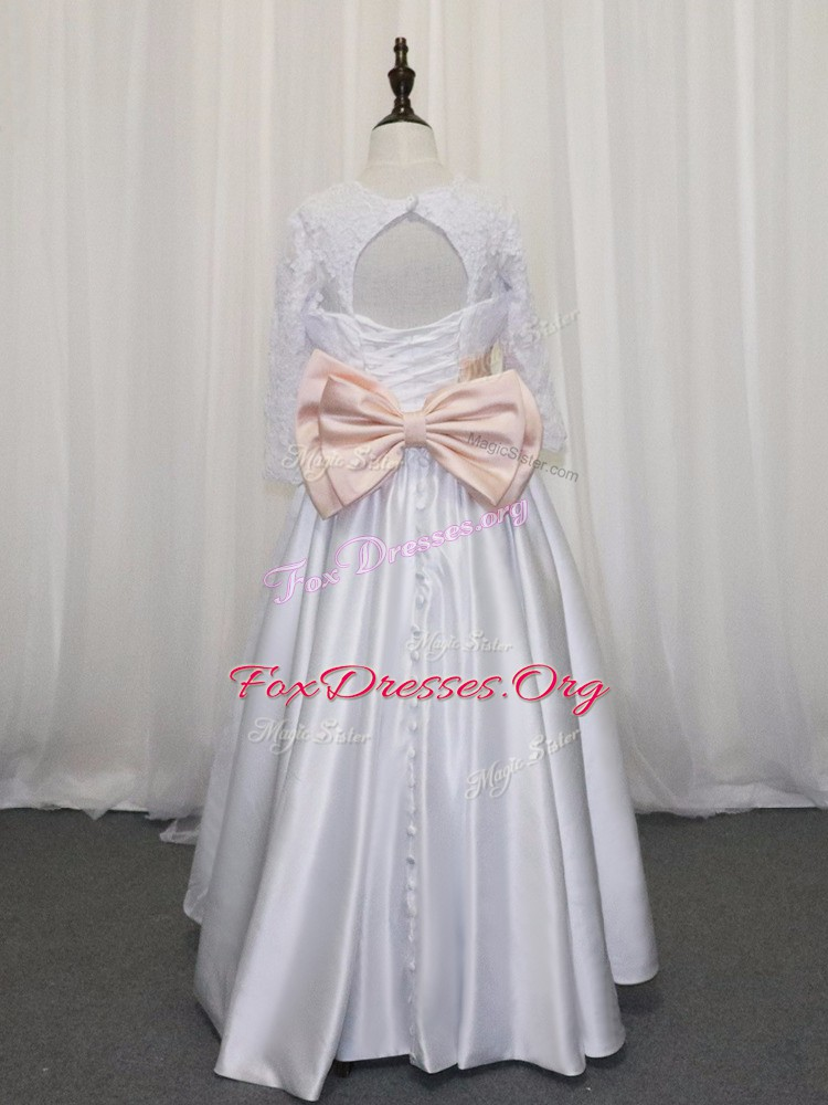 White Satin Lace Up Scoop Half Sleeves Floor Length Flower Girl Dresses Lace and Bowknot