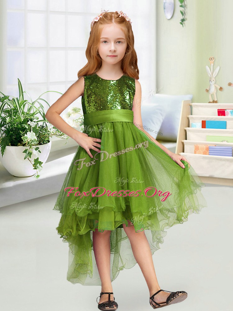 Olive Green Zipper Flower Girl Dresses for Less Sequins and Bowknot Sleeveless High Low