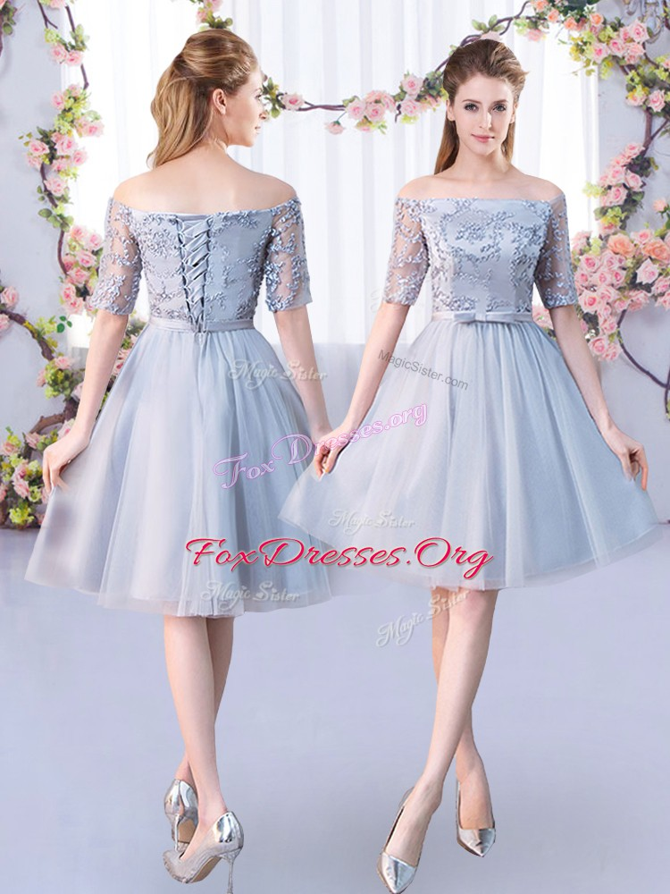 Grey Lace Up Quinceanera Court Dresses Lace and Belt 3 4 Length Sleeve Knee Length