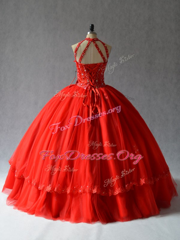 Pretty Red Halter Top Neckline Appliques Quinceanera Gown Sleeveless Lace Up