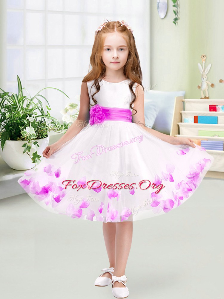 Customized White Zipper Scoop Appliques and Belt Flower Girl Dresses for Less Tulle Sleeveless