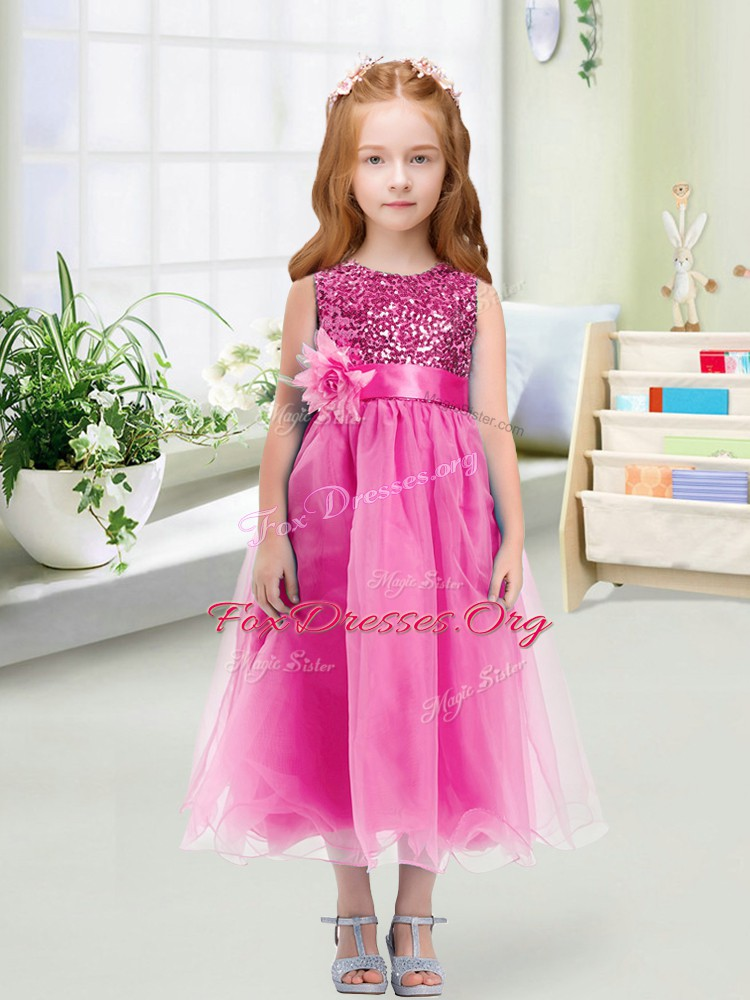 Shining Sleeveless Organza Tea Length Zipper Flower Girl Dresses in Rose Pink with Sequins and Hand Made Flower
