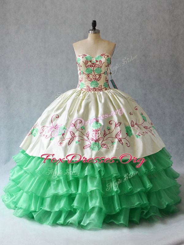 Sumptuous Floor Length Apple Green Quinceanera Gown Sweetheart Sleeveless Lace Up