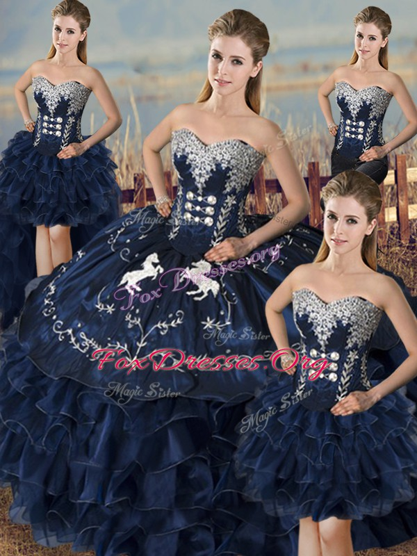 Pretty Embroidery and Ruffles Quinceanera Gowns Navy Blue Lace Up Sleeveless Floor Length