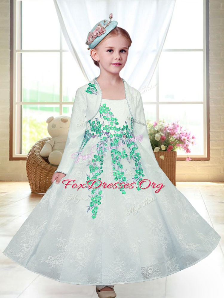 Dazzling White Lace Zipper Straps Sleeveless Ankle Length Flower Girl Dresses for Less Embroidery