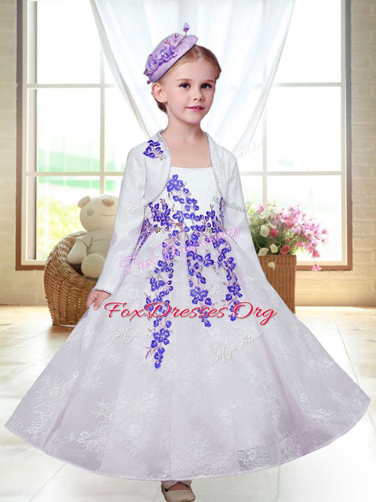 Straps Sleeveless Lace Flower Girl Dresses Embroidery Zipper