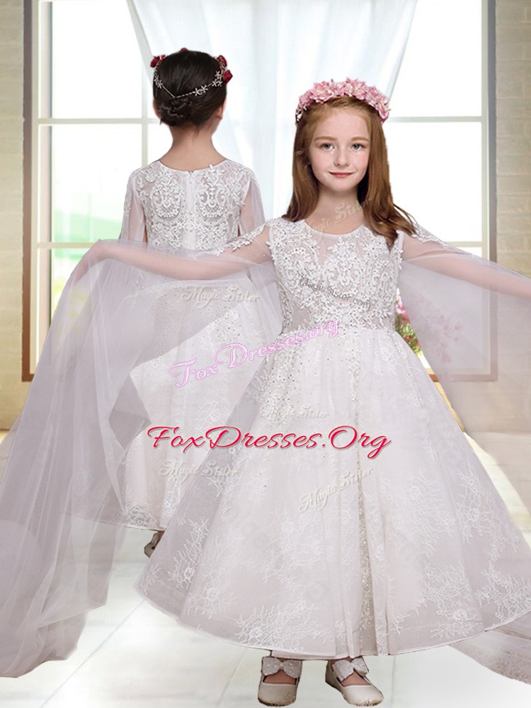 Modest White A-line Lace Toddler Flower Girl Dress Zipper Long Sleeves Ankle Length