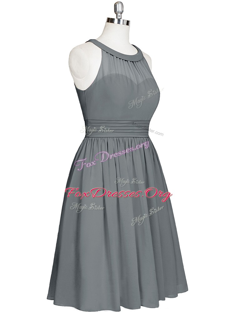 Designer Grey Sleeveless Chiffon Zipper Dress for Prom for Prom and Party and Military Ball