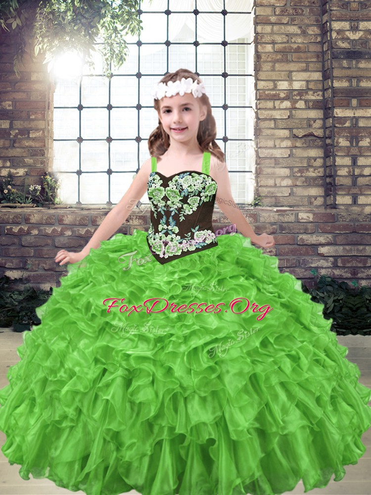 Discount Ball Gowns Organza Straps Sleeveless Embroidery and Ruffles Floor Length Lace Up Little Girl Pageant Gowns