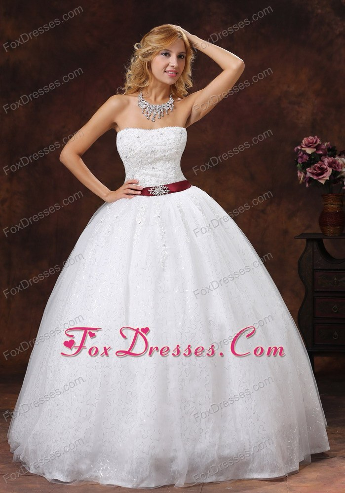 Lace and Beading Bridal Gown Strapless Ball Gown For 2013 Belt