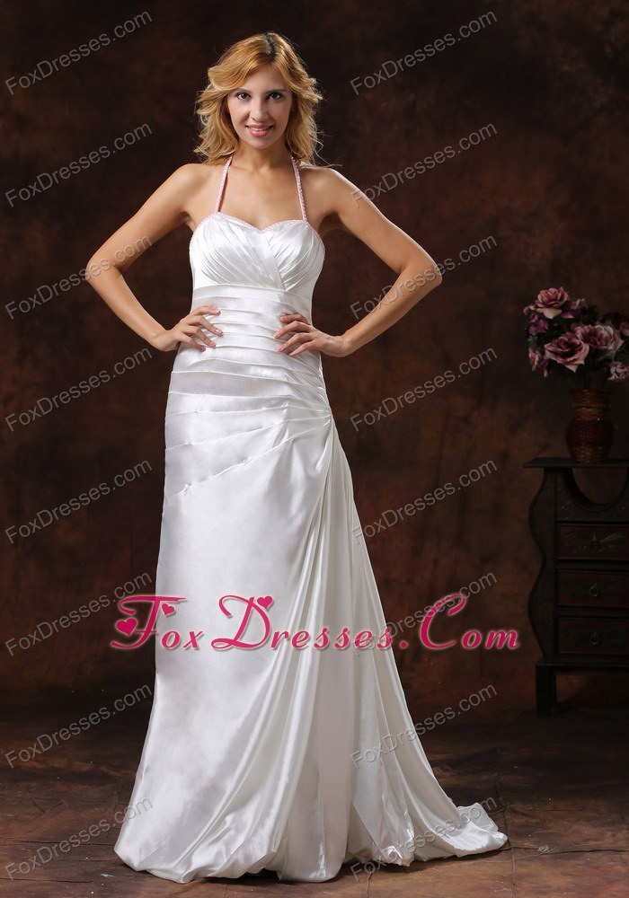Halter Ivory Wedding Dress With Brush Satin Ruch Decorate