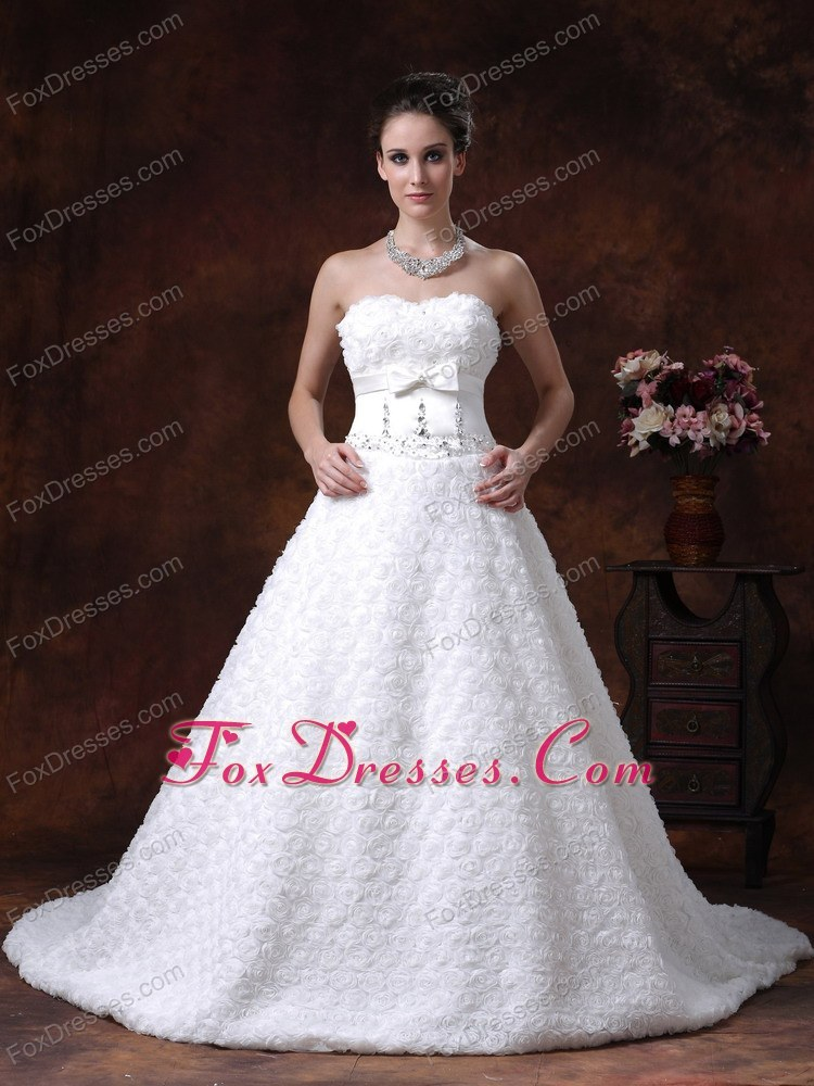 Sweetheart Wedding Dress Rolling Flower Bowknot With Beading
