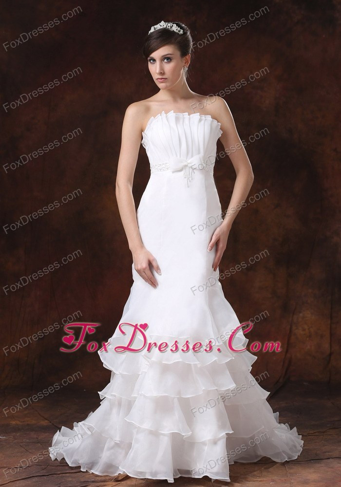 Ruffled Layers Wedding Gown Mermaid Strapless Custom Made