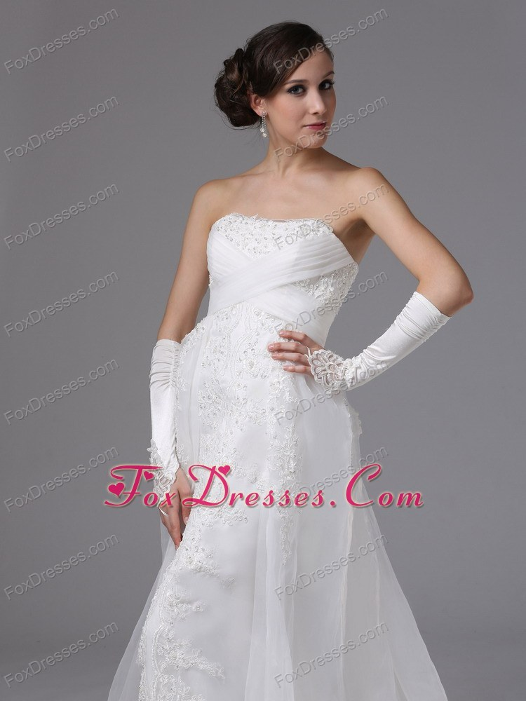 Brush Train Wedding Bridal Dress Lace and Organza Strapless