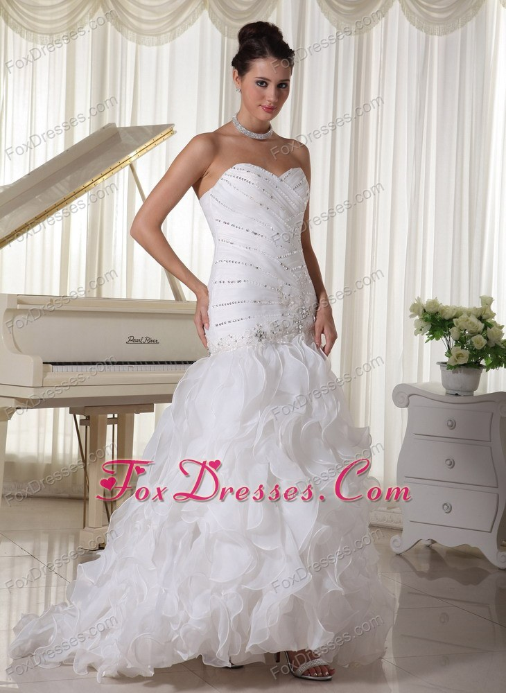 Bridal Dress Beading and Ruffles Brush Train Sweetheart Mermaid