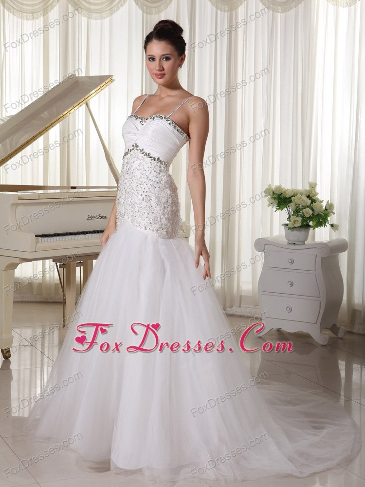Spaghetti Straps Bridal Dress Beading Court Train
