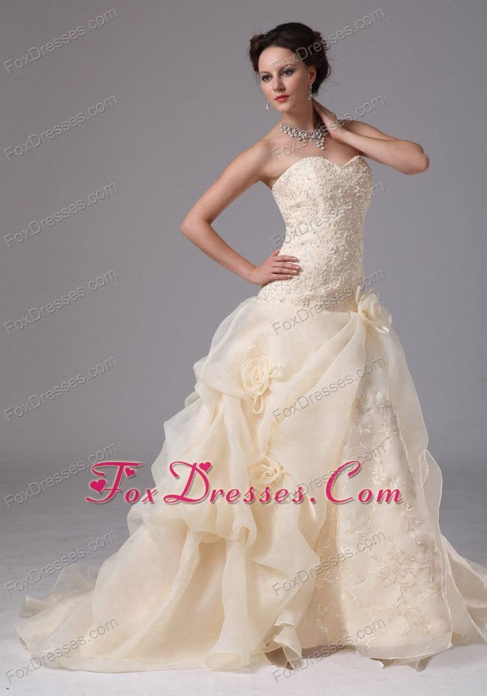 bright organza bridal gown