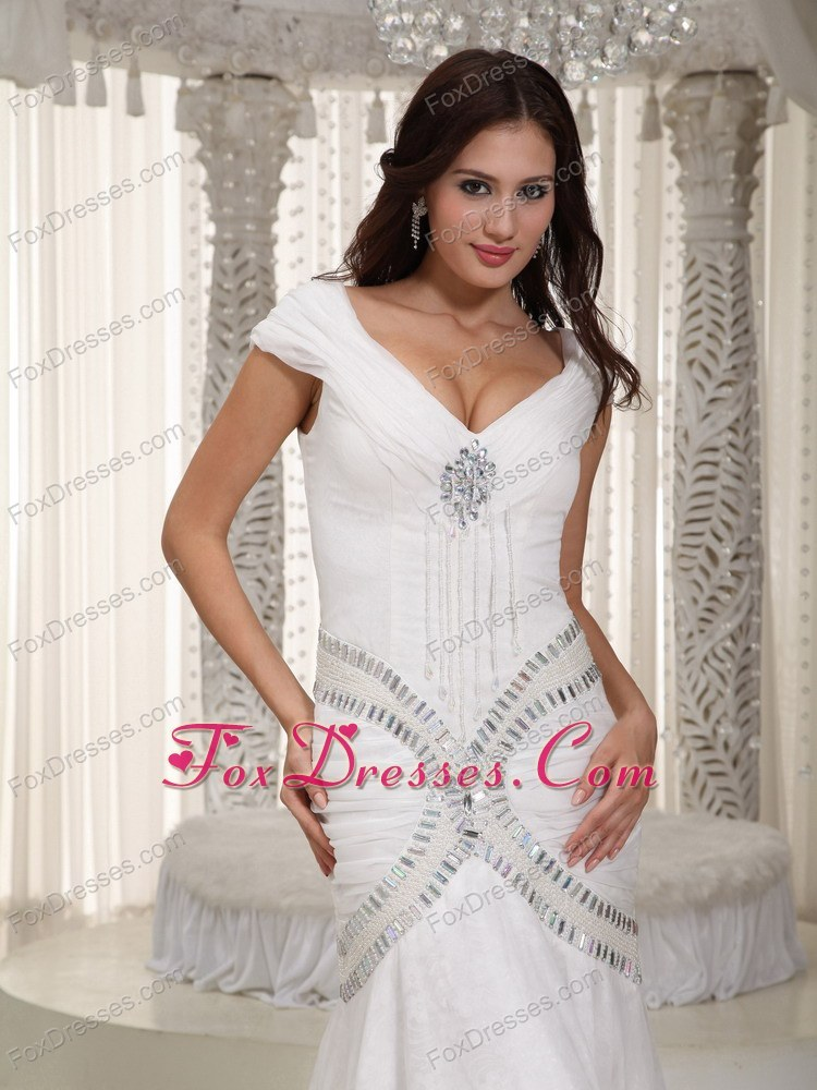 Sexy Wedding Dress V-neck Mermaid Court TrainChiffon Rhinestone