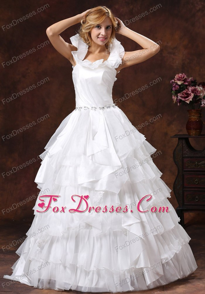 Scoop Ball Gown Ruffled Layered Wedding Dress With Sash